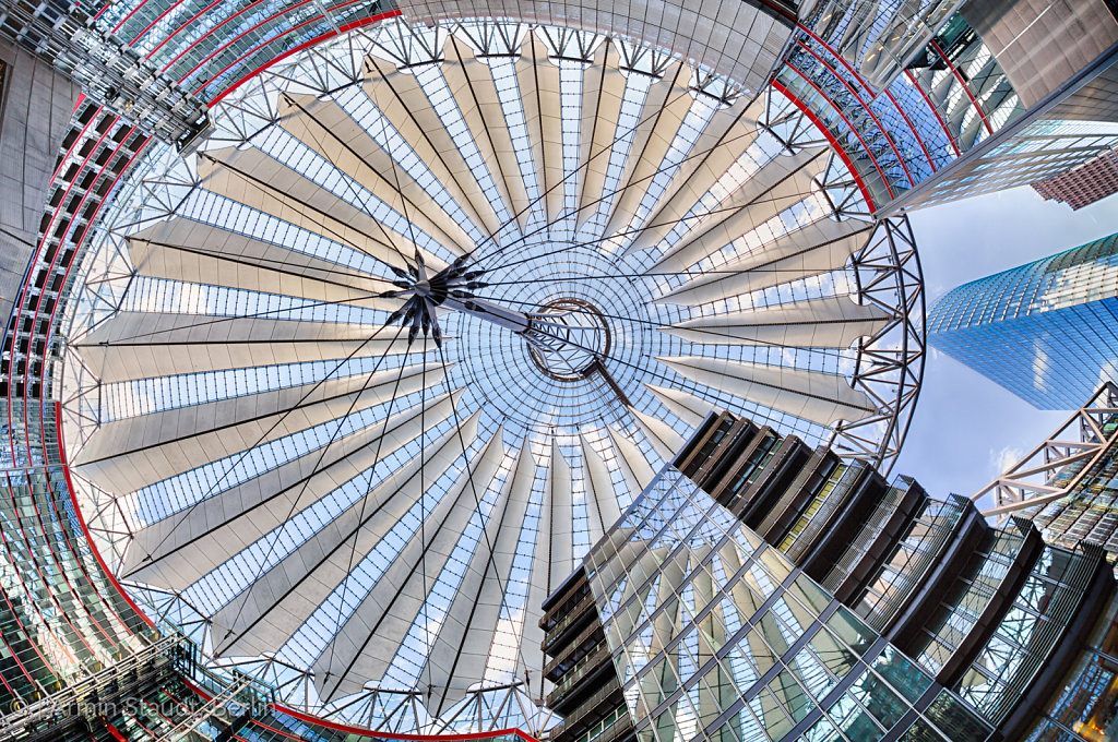 BERLIN, GERMANY - FEBRUARY 16, 2014: The Sony Center on Potsdamer Platz. Sony Center located at the Potsdamer Platz is a Sony-sponsored building complex, opened in 2000 year.