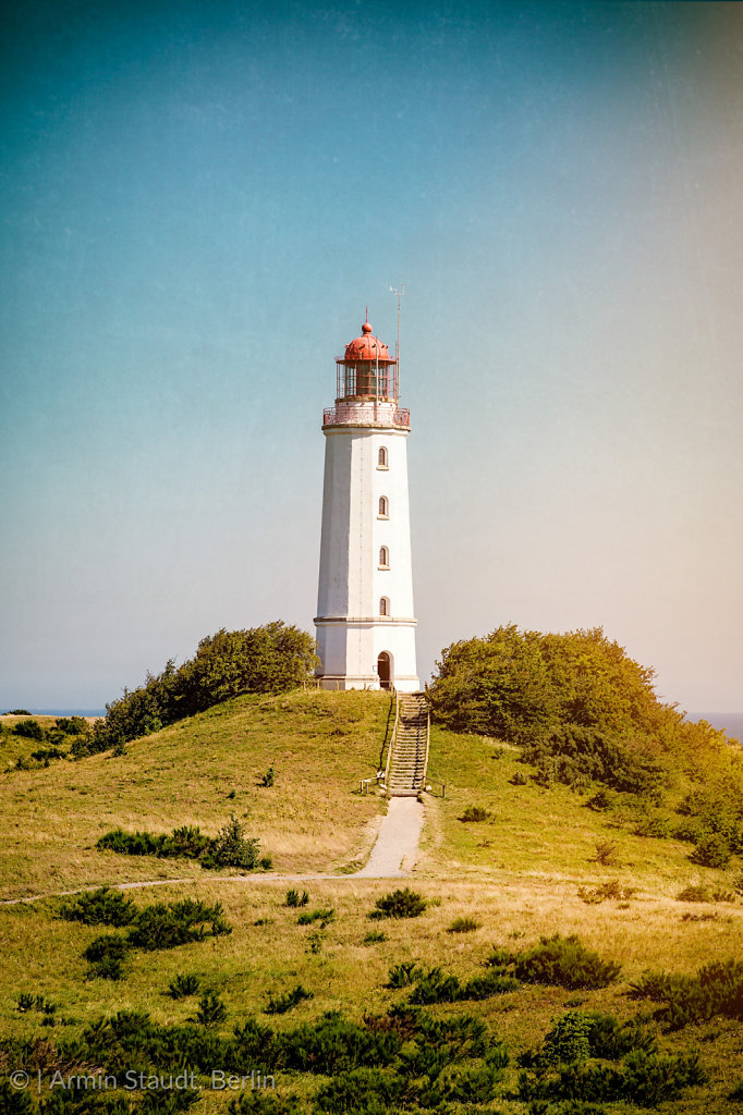 landscape and lighthouse Dornbusch at Hiddensee island