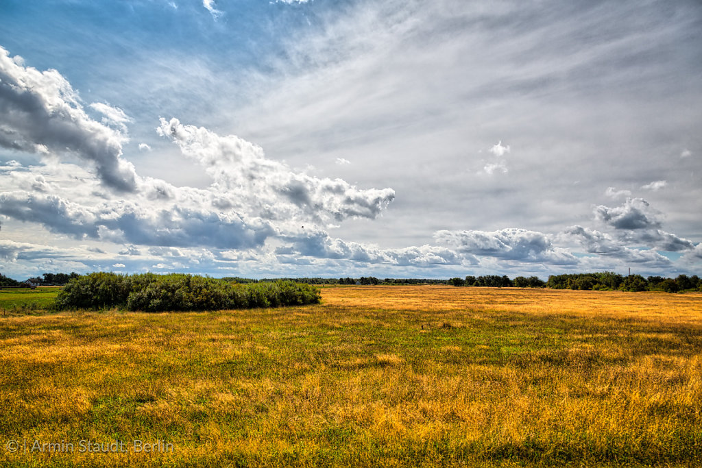HDR shot of Hiddensee heath with cloudscape