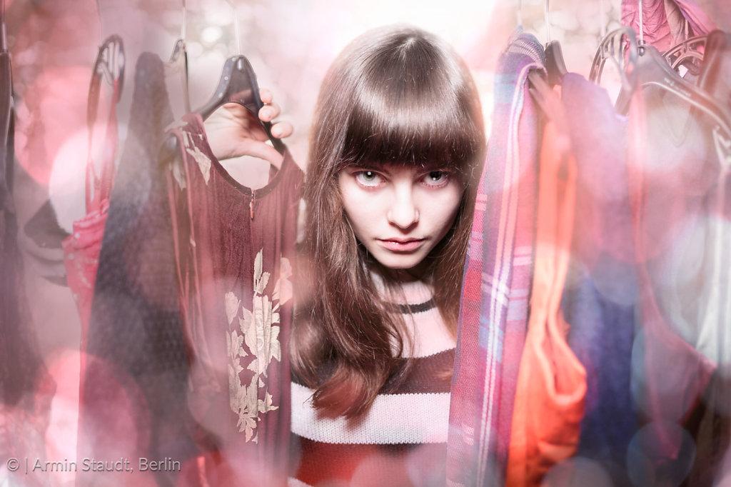 dangerous teenage girl with her wardrobe,backlit, bokeh and light leaks