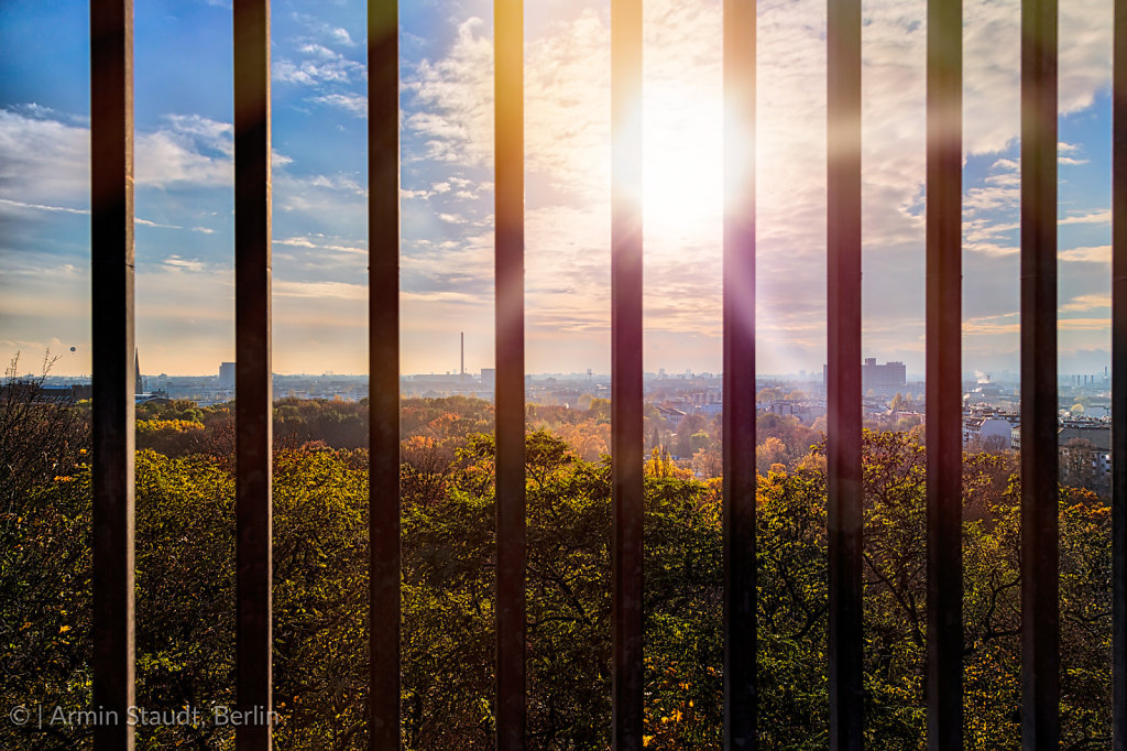 Skyline of Berlin seen through bars, Humboldthain