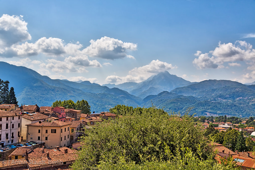 the Apuan Alps behind the town Barga, Tuscany, Italy