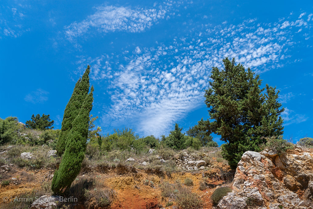 mediterranean nature, red earth and bleu sky on Kefalonia, Greec
