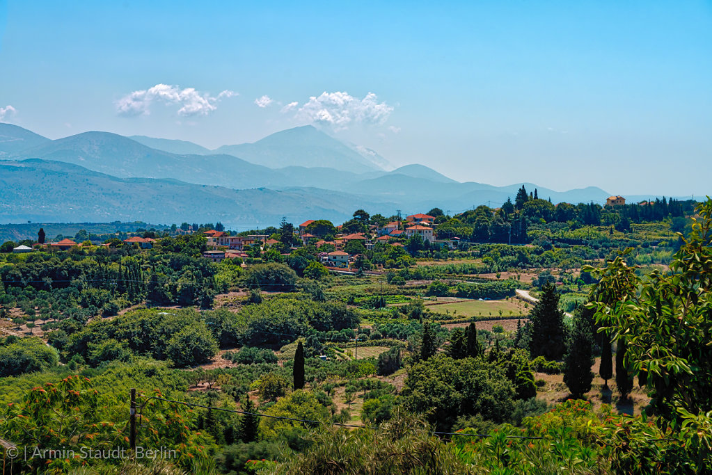 mediterranean landscape with village, Kefalonia Greece