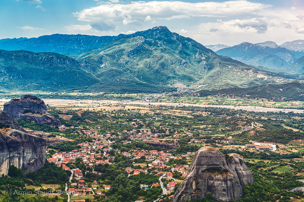 the village Kastraki seen from the Great Meteora Monastry, Greec